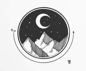 black, drawing, and moon image