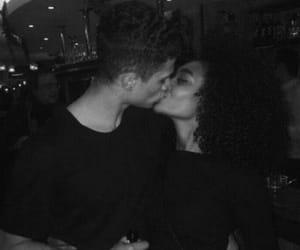 couple, kiss, and black image