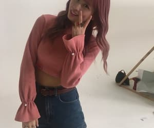 asian, outfit, and pink image
