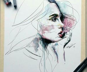paint, watercolor, and woman image