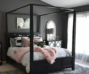bedroom, bed, and black image
