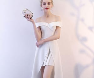 girl, white dress, and formal dress image