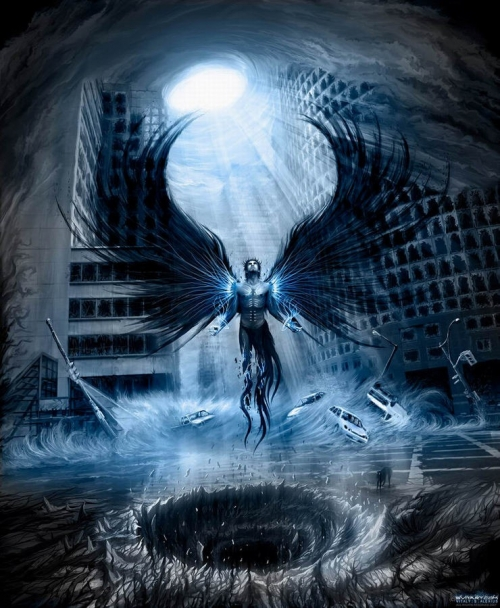 angel, art, and blue image