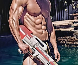 abs, guys, and swimming pool image