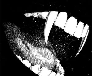 vampire, fangs, and black and white image