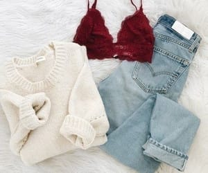 bralette, clothing, and jeans image