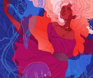 marguerite sauvage art, pink hair red dress, and spirit cats image