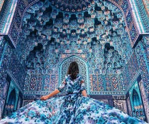 blue, dress, and architecture image