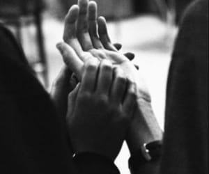hands, couple, and black and white image