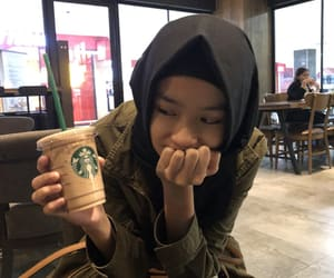 cafe, hijab, and starbucks image