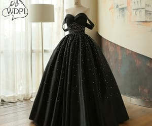 ball gown, black dress, and beautiful image