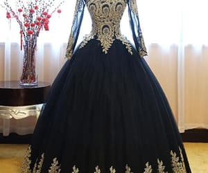 ball gown, beauty, and gold details image