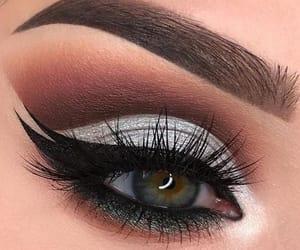 blue eyes, make up, and black liner image