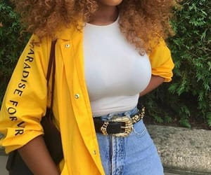 yellow, outfit, and jeans image