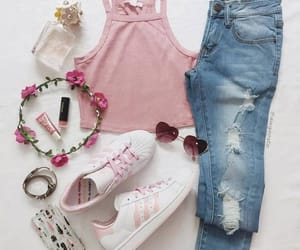 aesthetic, flower crown, and jeans image