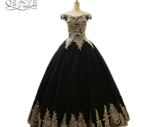 beautiful, short sleeve, and black dress image