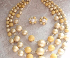 beaded necklace, costume jewellery, and yellow bead necklace image