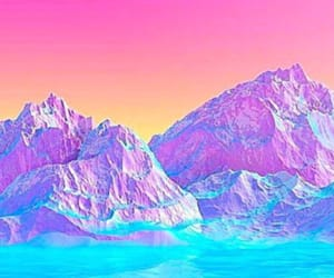 mountain, water, and purple image