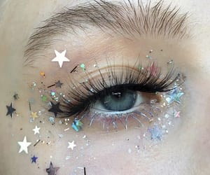 eyebrows, glitter, and makeup image