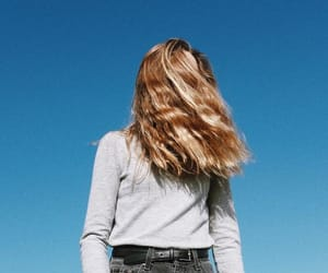 girl, blue, and sky image