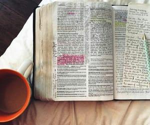 bible study, coffee, and god image