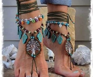 accessories, feet, and hippie image