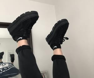aesthetic, black, and black shoes image