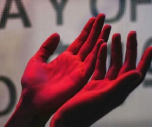 hands, neon, and red color image