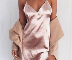 fashion, pink, and silk dress image