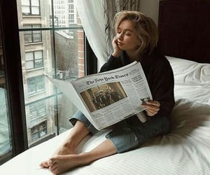 girl, newspaper, and pretty image