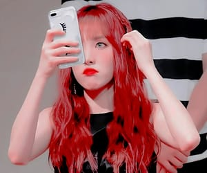 yuju, gfriend, and hair red image