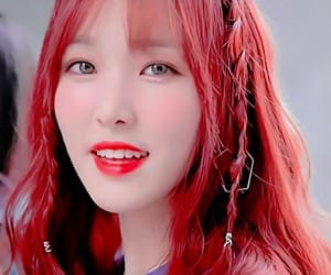 yuju, hair red, and kpop icon image