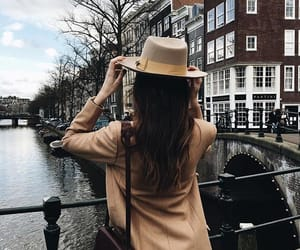 brunette, girl, and city image