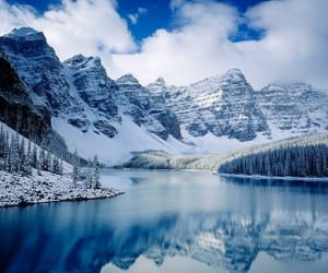 mountain, snow, and water image