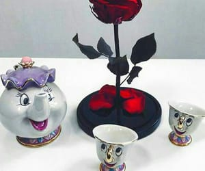 beauty and the beast, cartoon, and red rose image