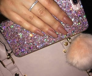 nails, glitter, and iphone image