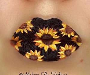 sunflower, flowers, and lips image