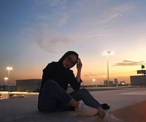 sunset, muslim hijabi, and hijâbi image