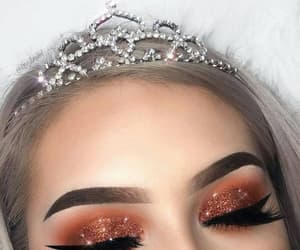 makeup, crown, and beauty image