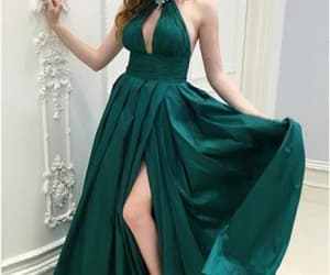 prom dress, green prom dress, and halter prom dress image