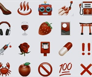 aesthetic, emoticon, and red image