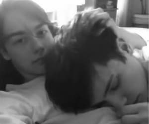 black and white, cuddles, and gif image