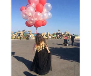baloon, girl, and surprise image
