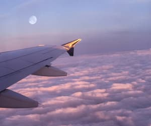 airplane, moon, and clouds image