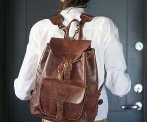 etsy, leather backpack, and vintage backpack image