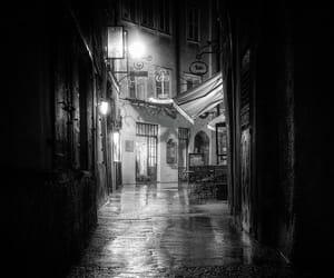 black and white, lights, and rain image