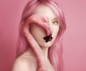 body painting, eye, and pink hair image