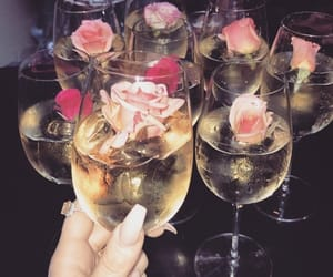 drink, champagne, and flowers image