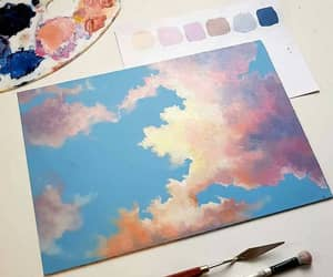 art, painting, and sky image