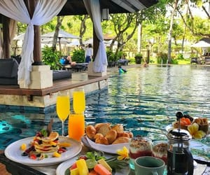 food, breakfast, and pool image